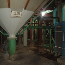 One of four fermentors in the ethanol plant